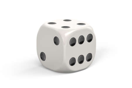 White dice isolated on white background - 3d render 版權商用圖片