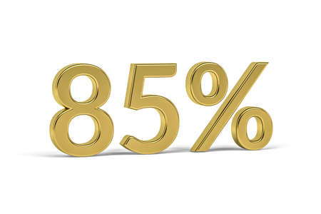 Golden digit eighty five with percent sign - 85% on white background - 3D render