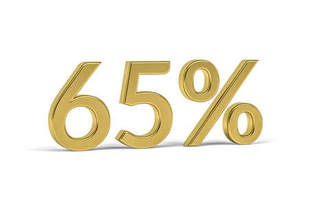 Golden digit sixty five with percent sign - 65% on white background - 3D render Reklamní fotografie