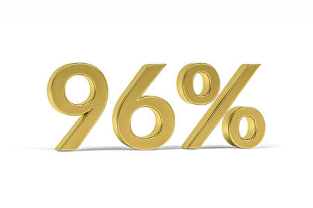 Gold digit ninety six with percent sign - 96% isolated on white - 3D render