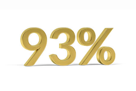 Gold digit ninety three with percent sign - 93% isolated on white - 3D render