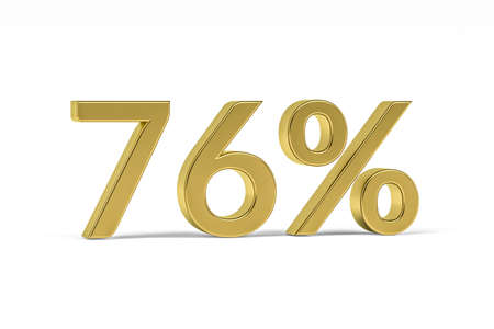 Gold digit seventy six with percent sign - 76% isolated on white - 3D render