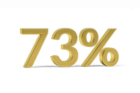 Gold digit seventy three with percent sign - 73% isolated on white - 3D render