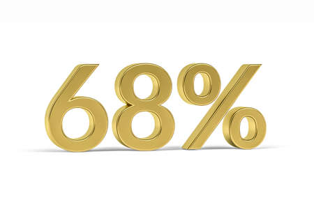 Gold digit sixty eight with percent sign - 68% isolated on white - 3D render