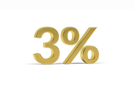 Gold digit three with percent sign - 3% isolated on white - 3D render Archivio Fotografico