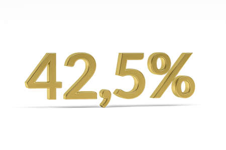 Gold digit forty-two point five with percent sign - 42.5% isolated on white - 3D render