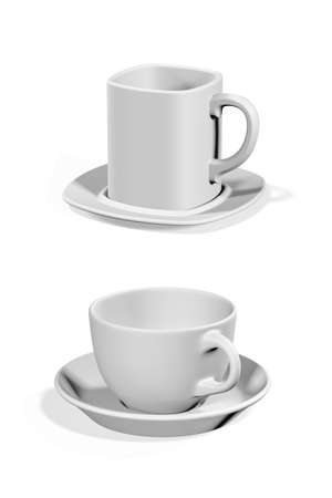 Coffee cups mockup isolated on white background - 3d render