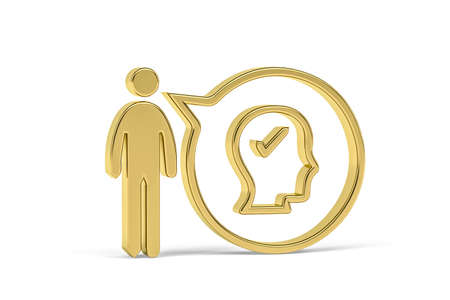 Golden 3d psychologist icon isolated on white background - 3D render