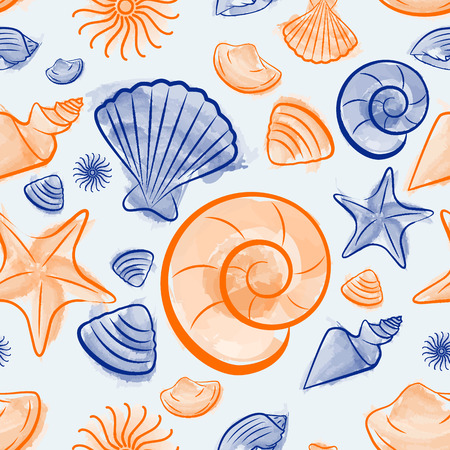 cockle: Seashell Summer seamless pattern created with watercolor brush illustrator