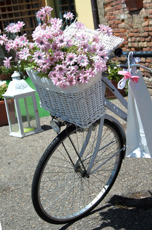decorated bike: Classic white bike decorated with pink flowers closeup