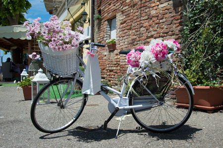 decorated bike: Classic white bike decorated with pink flowers