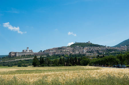 assisi: Panoramic view on Assisi Umbria Italy Stock Photo