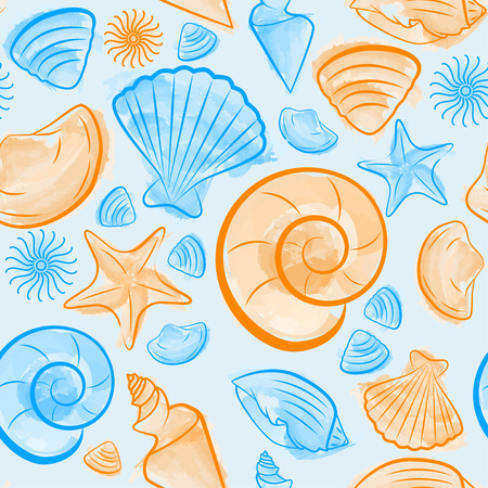 cockle: Seamless pattern with seashells created by watercolor brushes blue and orange