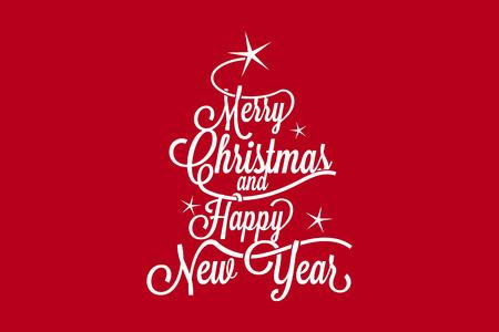 muerdago navideÃ?  Ã? Ã?±o: Feliz Navidad y Feliz Año Nuevo horizontal de la postal
