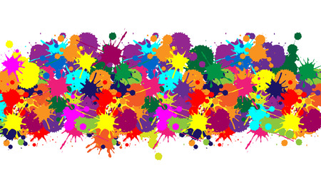 spitting: Illustrator texture, banner with colorful brush for web color background and carnival
