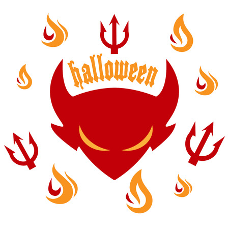 cartoon devil: Halloween party - devil with flames and forks