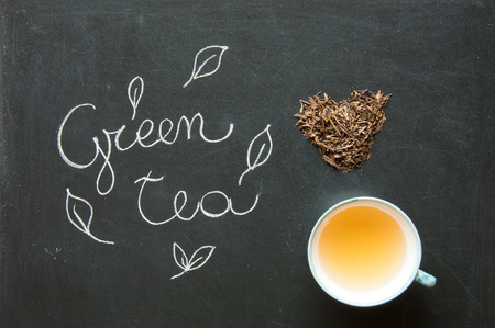 diuretic: Green tea bancha - macrobiotic drink for natural food and love for healthy lifestyle