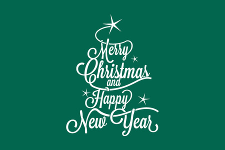 script: Merry Christmas and Happy New Year postcard
