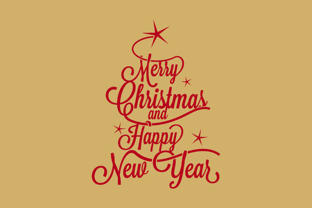 Merry Christmas and Happy New Year postcard Stock Vector - 47350937