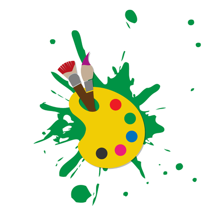 spoiled: Web icon illustrator colorful palette with paint brush splash