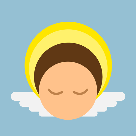 peaceful: Peaceful angel rounded vector character Illustration