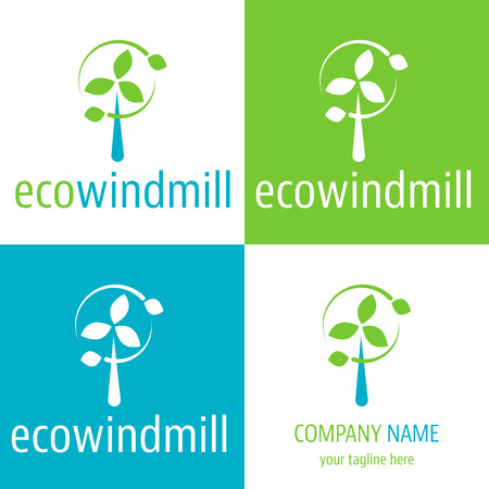 green economy: Logo and icon for eco power windmill for renewable energy source and green economy company