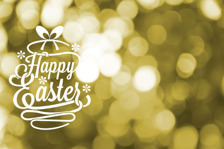 Happy Easter greetings card with yellow blurred bokeh background