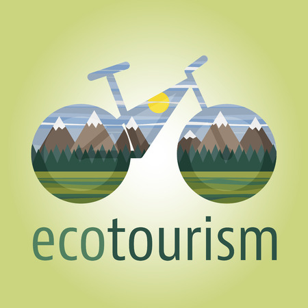 eco tourism: Eco tourism vector icon with ecologic bike