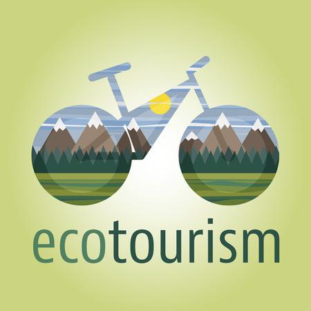 turismo ecologico: icono del vector de turismo ecológico con la bicicleta ecológica