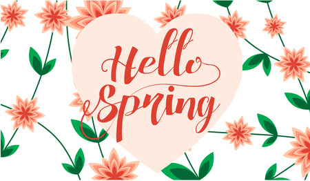 hello heart: Hello Spring letter decorating with leaf and flower, Spring Season, lettering, flowers, leafs, nature