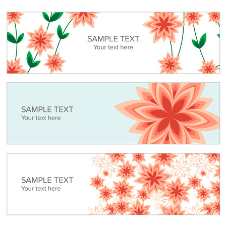 webbanner: Floral banner with geometric peach flowers for beauty, spa, cosmetic and spring