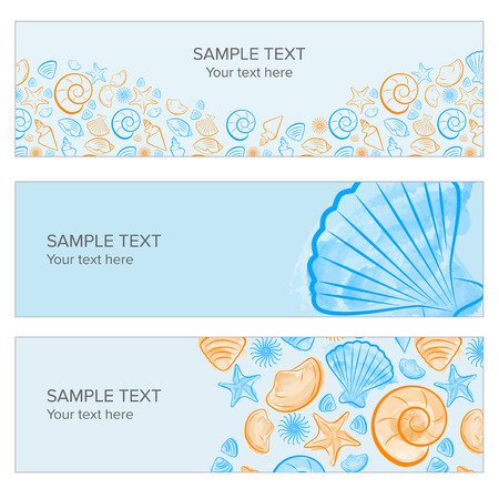 webbanner: Seashell summer banner with draw, icon created with illustrator watercolor brush