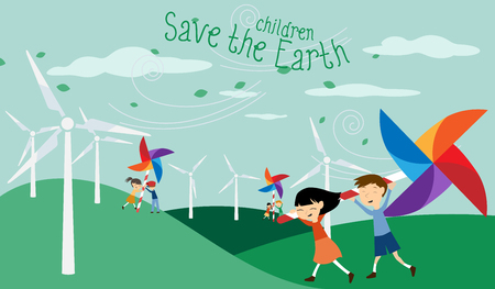 Save the Earth - Green energy for children - Illustration with electric windmill and Catherine wheel for kids