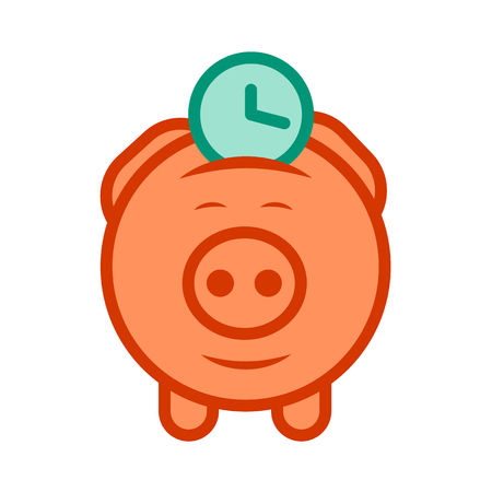economize: Flat design icon of piggy bank to economize and saving time