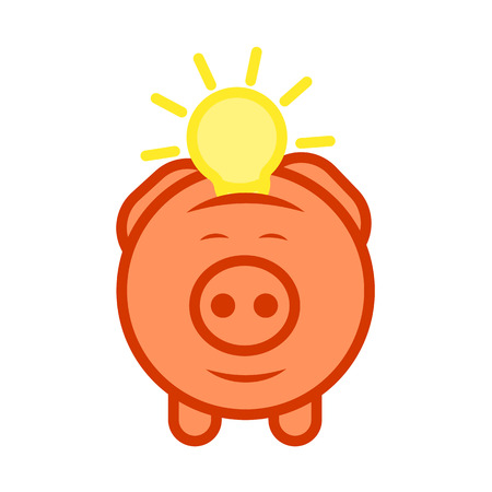 economical: Flat design icon of piggy bank to economize and saving idea