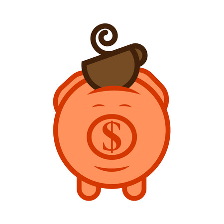 economize: Flat design icon of piggy bank to economize and saving money with a coffee