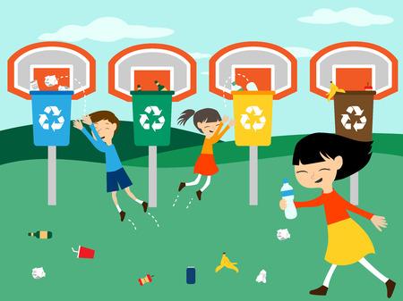 niños reciclando: Los niños reciclar jugando en cesta con el reciclaje de la ilustración bin para la educación ecológica verde Vectores