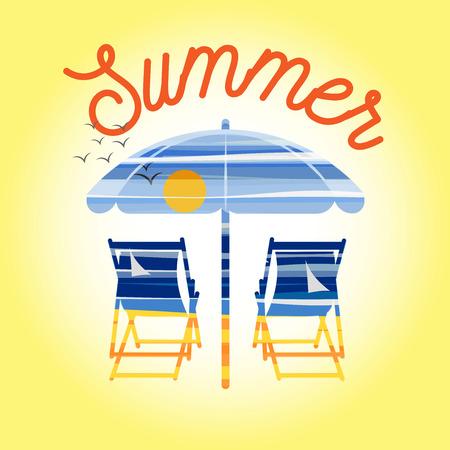 sun umbrella: Sea and beach landscape icon with sun umbrella, chairs and summer text