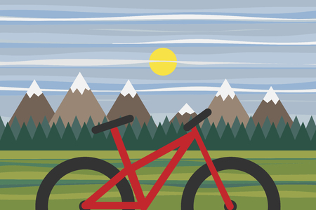 eco tourism: Mountain panorama for eco bike tourism and ecological and sport travel Illustration