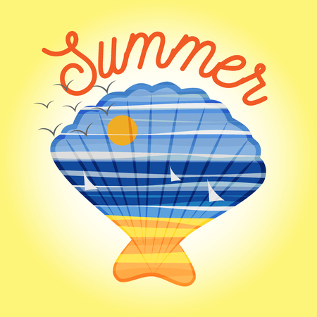 Sea and beach landscape vector icon with seashell and summer text