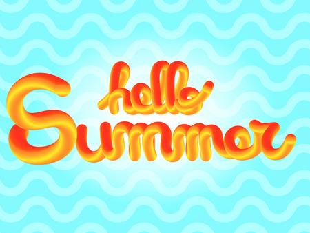 Hello Summer enjoy text lettering vector