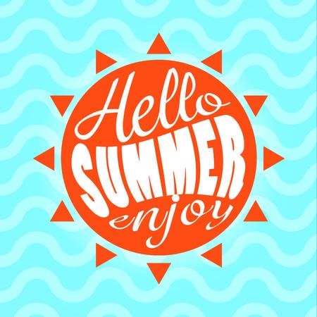 enjoy: Hello Summer enjoy text lettering vector