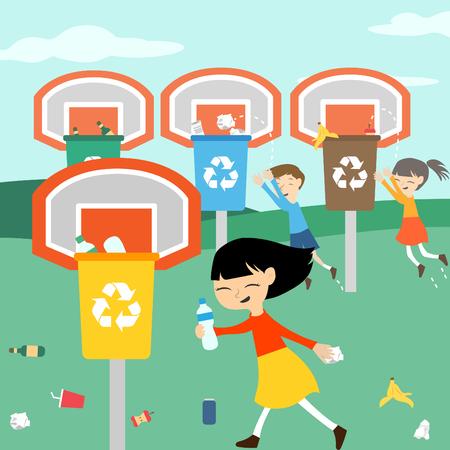niños reciclando: Los niños reciclar jugando en cesta con ilustración vectorial papelera de reciclaje para la educación ecológica verde