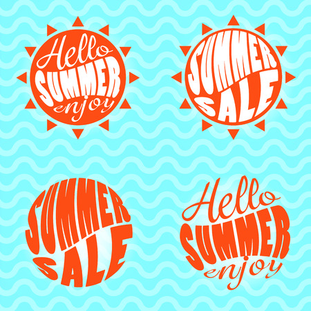 Hello Summer sale and enjoy text lettering vector pack