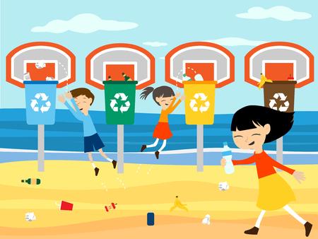 ni�os reciclando: Los ni�os reciclar jugando en cesta con ilustraci�n vectorial papelera de reciclaje para la educaci�n ecol�gica verde
