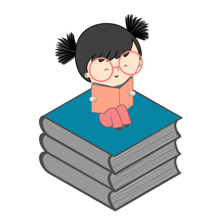 young culture: Girl reading on stack of books for children education and young culture growth