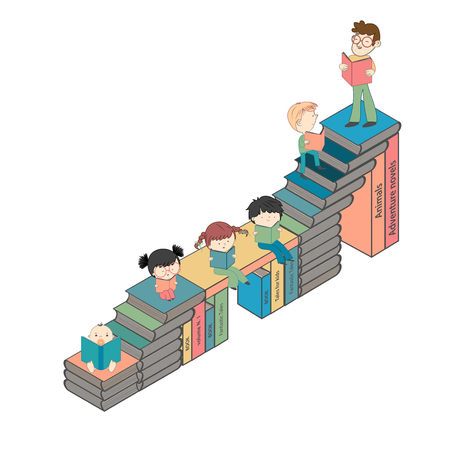 Stairs of books with many boys and girls reading for children education and young culture growth