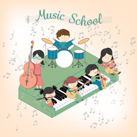 Children music school composition with boys and girls playing many instruments illustration set