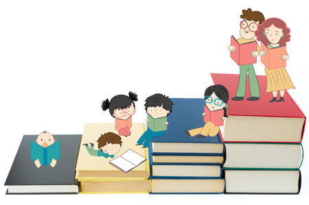 Boys and girls reading books for children education and young culture growth illustration