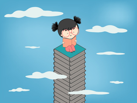 schooler: Child reading a book sitting on stack of books up to sky for children culture growth - Vector illustration Illustration